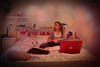 Encircle me, I need to be taken down. (Sarah Elizabeth Moore) Tags: sarah work polaroid bed model bedroom panda bokeh laptop sketchbook dell sarahmoore vinyetting
