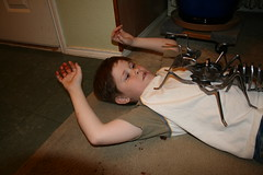 Niki Attack (Mstreeman) Tags: metal small praying machine grandchildren grandson freckles metalworking darkhumor