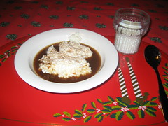 Traditional Christmas Morning Food- puuro with plum raisin sauce