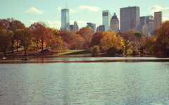 Cityyyyyyy (jami_lee) Tags: city autumn trees sky brown lake ny newyork fall water clouds pond centralpark