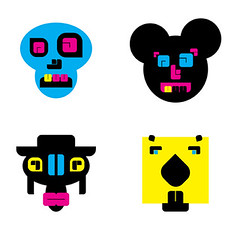 FOUR MONSTERS (CARTEL GRAPHICS) Tags: skull cow character mickey beaver vector cartel