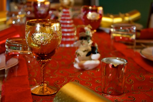 christmas table with the expensive glasses