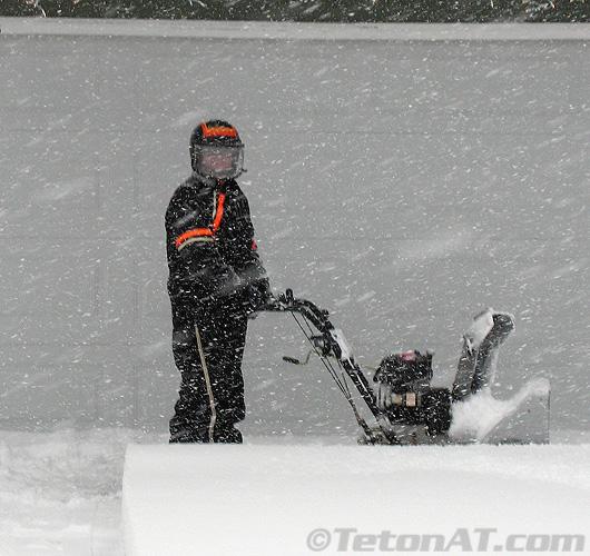 helmeted snowblower