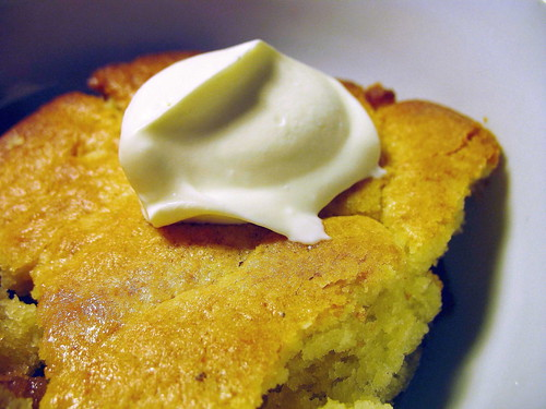 maple-buttermilk pudding cake with crème fraîche
