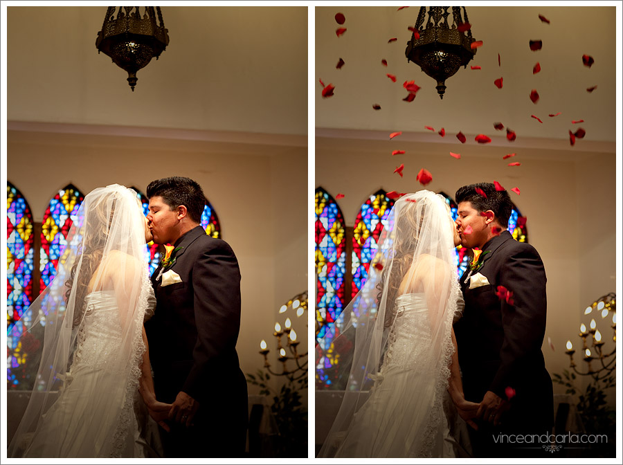 kiss ceremony wedding dual portrait with everyone preparation dressing up chapel of roses negative space