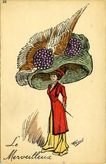 Postcard Circa 1909 (RogerH29) Tags: fashion french humorous postcard hats 1909 parisienne belleepoque