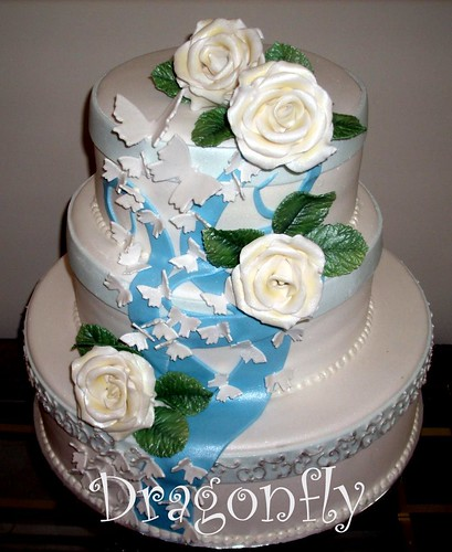 Aqua Wedding Cake with butterflies and sugar flowers