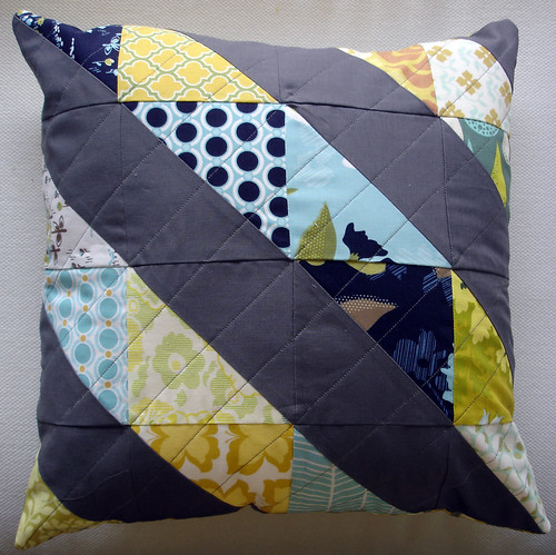 diagonal stripe pillow