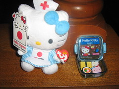 most recent  sanrio purchases (isisxosiris07) Tags: sushi japanese hellokitty plush sanrio medical relief ty stuffedanimal kawaii nurse redcross erasers beaniebaby
