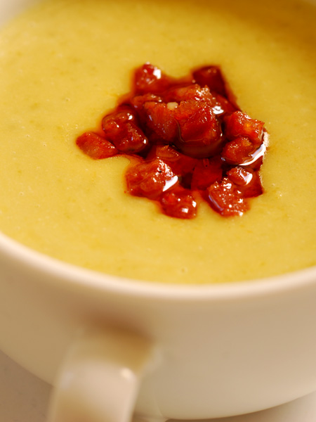 Green Split Pea Soup with Chorizo