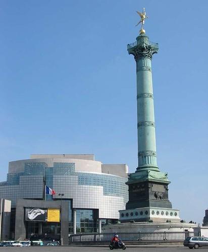 Plaza Bastilla, Ópera y Columna de Julio, Paris, Francia
