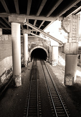 tunnel (telmo32) Tags: sf sanfrancisco california city urban blackandwhite bw monochrome sepia train overpass monotone explore creativecommons rails bayarea sfbay blueribbonwinner firstquality mariposastreet sfchronicle96hrs mywinners isawyoufirst infinestyle bwartaward goldstaraward telmo32