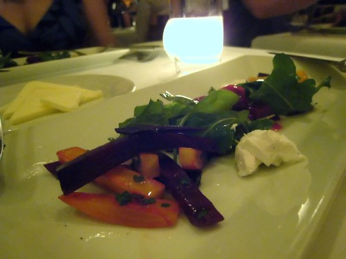 trio of beets with bcf baby arugula and wink chevre ($13)