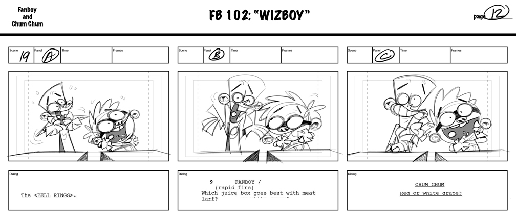 Fanboy and Chum Chum storyboard page