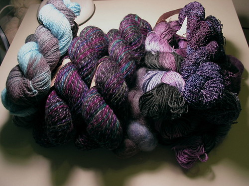 Blue/Purple/Black stash yarns