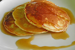 coconut pancakes with cardamom syrup