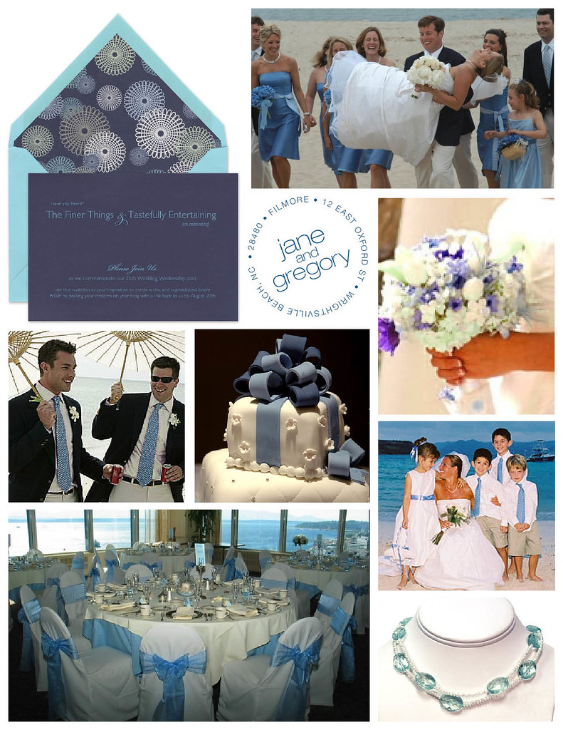 Blue, White and Teal Seaside Beach Wedding Anniversary