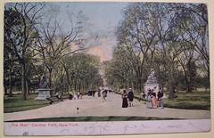 "Vintage Postcard, The Mall, Central Park, ""New York"" (riptheskull) Tags: newyork vintage centralpark postcard ephemera collection vintagepostcard oldpostcard postcardcollection"