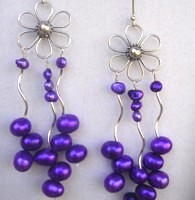 Custom earrings of vivid purple freshwater pearls and silver