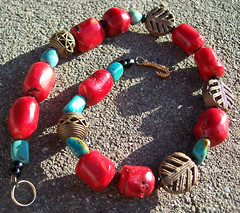 Sunlit coral and turquoise necklace