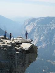 Hanging out over edge of Half Dome (thomas pix) Tags: california hike yosemite dome half summit halfdome eyefi