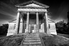 Temple of Apollo (Etrusia UK) Tags: uk houses sky blackandwhite history church photoshop buildings geotagged nikon unitedkingdom wideangle northernireland ni 1020mm nationaltrust apollo pictureperfect ulster strangford d300 templeofapollo strangfordlough templ codown sigmalens castleward 1020mmlens sigma1020mmlens golddragon nikond300 geo:lat=54376758 geo:lon=5573158