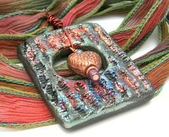 Textured Heart Raku Pendant...Raku Jewelry by MAKUstudio (MAKUstudio) Tags: ceramic team handmade silk indie bead ribbon etsy emt raku pendant bao focal makustudio mariannekasparian