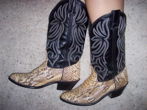 Tacky snakeskin boots