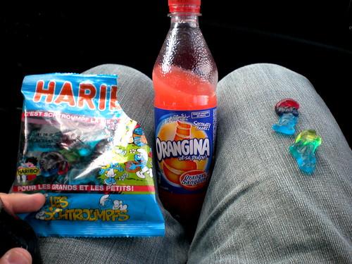 Haribo Smurfs and Orangina Red