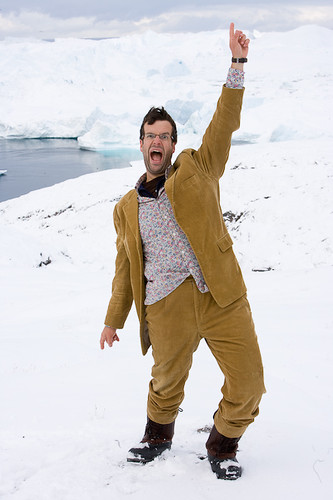 Marcus Brigstocke climbs Little Eqe at the mouth of the glacier named Ilulissat Kangia (Danish name - Jacobshavn Glacier).