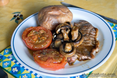 Steak, Tomatoes, Mushrooms and Jacket Potatoe