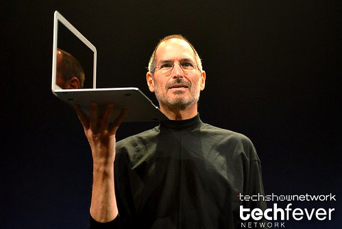Apple CEO Steve Jobs showing the new Apple Macbook Air laptop series during his keynote address at Macworld 2008 in San Francisco by TechShowNetwork.