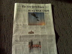 Fake July 4, 2009 New York Times being handed ...