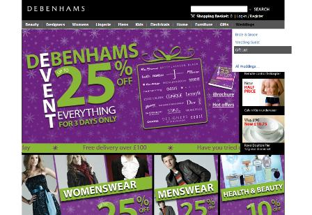 Debenhams Xmas sale