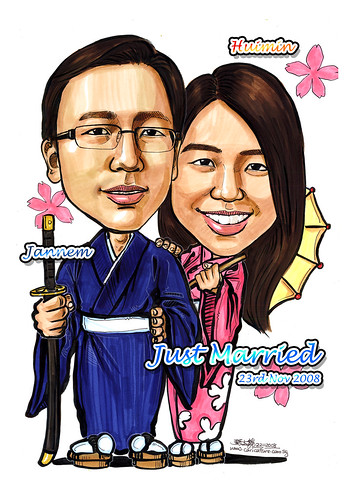 Couple wedding caricatures in Kimono with text A4