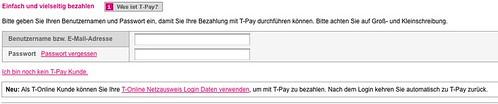 T-Pay - Das Bezahlsystem der Deutschen Telekom - Anmelden