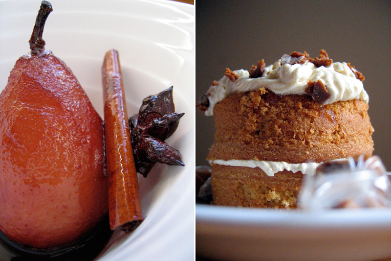 Caramel Cake & Mulled Pears