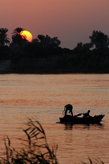 Fishing on the River Nile Sunset (doublejeopardy) Tags: sunset net canon river boat fishing fisherman egypt nile luxor ef70200mmf4lusm flickrlovers jolievie