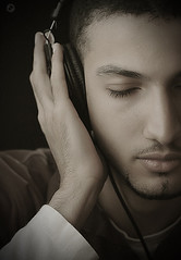 Listen | (Moh'd Baqer Portrait Photography) Tags: family friends bw music man art fashion dark studio fun dance eyes warm soft silent angle awesome uae creative expressions style voice romance arabic soul sound hassan win headphone listen saudia chalenge mbaqer