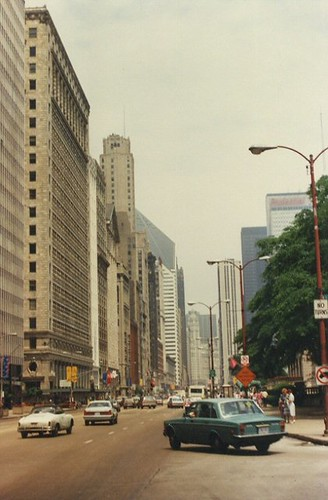 Looking north on Michigan Avenue. Chicago Illinois. June 1986.