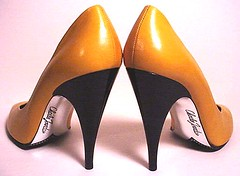 For love_yellow: CHARLES JORDAN PARIS, France - YELLOW pumps, black spike heels & silver signature insteps! WOW!