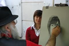 Montmartre Portrait (c_pichler) Tags: travel girls portrait paris france art girl painting photo model nikon frankreich foto image drawing models picture montmartre painter romantic draw bild