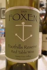 2003 Foxen Foothills Reserve Santa Ynez Valley Red Table Wine
