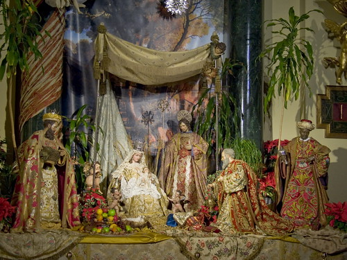 La adoración de los Reyes Magos.