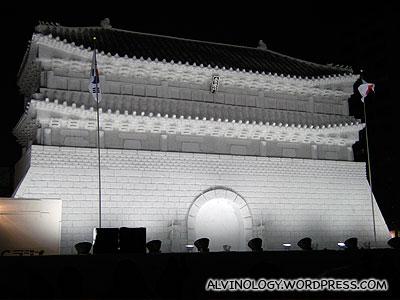 A famous Korean landmark, made into a snow sculpture