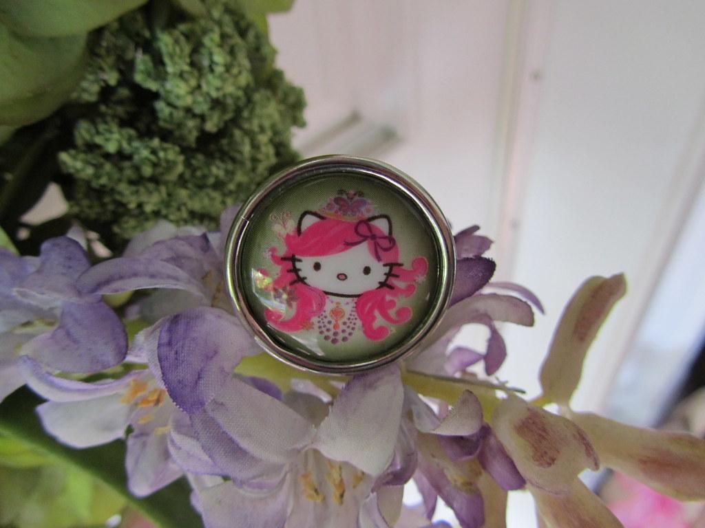 Purple Butterfly Hello Kitty Ring