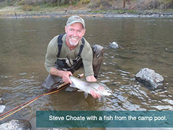 Steve Choate with a fish from camp pool