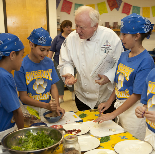 "Chef Roland Schaeffer and students cooking ""Cougar Power Lentils"" for the Recipes for Healthy Kids competition"
