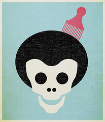Skull with Afro. (NELSONICBOOM) Tags: art face make illustration hair print poster skeleton skull design graphicdesign cool day head afro every 1960s 1970s something fro vector comb msced 30daysofcreativity nelsonicboom