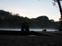 At the dam.. (Meggles <3) Tags: trees boy sunset cute love girl fog river boat dock couple pretty sweet dam silhouettes teens